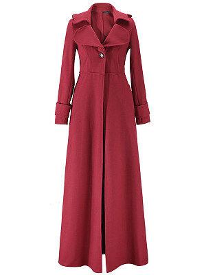 Berrylook Lapel Single Button Plain Wool-Like Duster Coat online shop, online, ladies jacket, womens fashion jackets