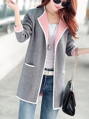Berrylook Lapel Contrast Trim Patch Pocket Plain Coats clothing stores, clothes shopping near me, warm jackets for women, womens jackets sale