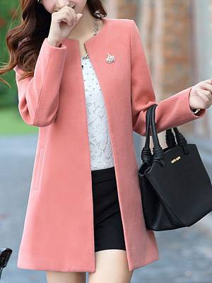 Berrylook Collarless Solid Pocket Woolen Trench Coat clothes shopping near me, stores and shops,