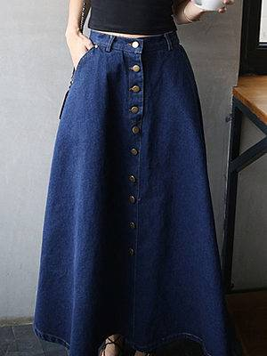 Berrylook Classical Decorative Button Plain Flared Maxi Skirt online sale, clothes shopping near me,