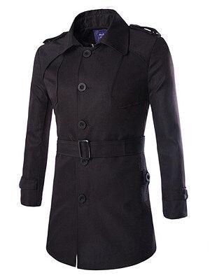 Berrylook Lapel Solid Single Breasted Belt Men Trench Coat online, clothes shopping near me, Plain Men Coats,