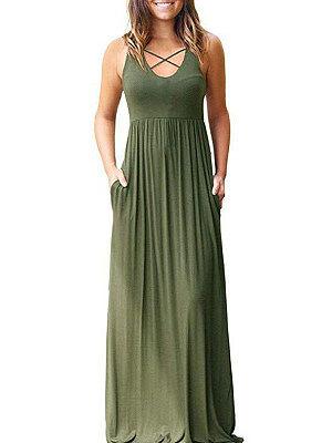 Berrylook Patch Pocket Plain Maxi Dress clothes shopping near me, online shop, Fitted Maxi Dresses, long white dress, a line dress