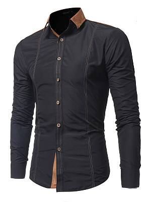 Berrylook Contrast Suede Turn Down Collar Men Shirts online sale, clothes shopping near me,