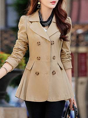 Berrylook Notch Lapel Double Breasted Plain Trench Coat online, clothes shopping near me,