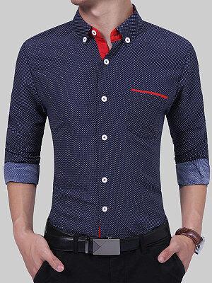 Berrylook Polka Dot Button Down Collar Men Shirts online shop, online, Dot Men Shirts,