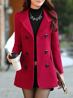 Berrylook Lapel Plain Double Breasted Flap Pocket Woolen Coat online stores, shop, cute jackets, winter jacket