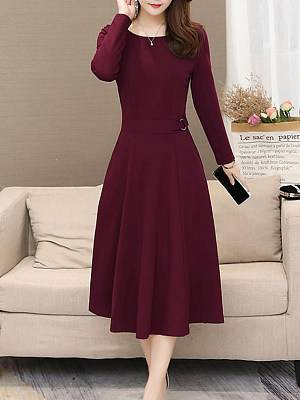Berrylook Round Neck Plain Skater Dress sale, clothes shopping near me, red fit and flare dress, fit and flare dress with sleeves