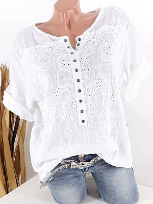 Berrylook Round Neck Patchwork Lace Blouses clothes shopping near me, online shop, lace Blouses, button up shirts for women, tunic tops for women