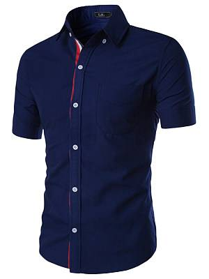 Berrylook Fitted Patch Pocket Plain Men Shirts clothes shopping near me, shoping, Solid Men Shirts,