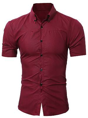 Berrylook Button Down Collar Plaid Plain Men Shirts clothes shopping near me, online shop, Plain Men Shirts,