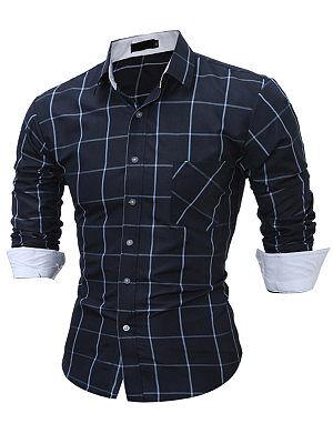 Berrylook Plaid Long Sleeve Men Shirts online shop, clothes shopping near me,