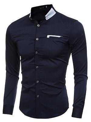 Berrylook Contrast Turn Down Collar Men Shirts shoppers stop, shoping,