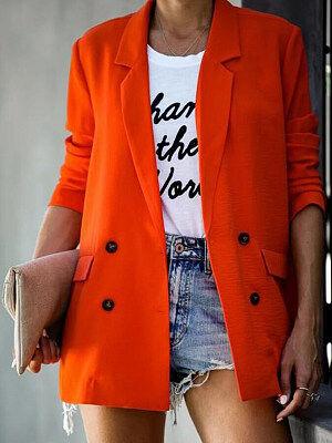 Berrylook Fold-Over Collar Plain Blazers online, clothes shopping near me, long blazer womens, long blazer