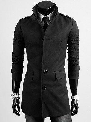 Berrylook High Neck Flap Pocket Plain Men Trench Coat clothes shopping near me, shoppers stop, Plain Men Coats,