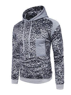 Berrylook Leopard Drawstring Men Hoodie clothes shopping near me, shop,