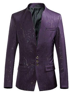 Berrylook Designed Collarless Flap Pocket Printed Men Blazer sale, clothes shopping near me, Print Men Coats,