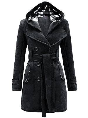 Berrylook Double Breasted Pockets Hooded Dacron Plain Overcoat clothes shopping near me, online stores, leather jackets for women, women's spring coats