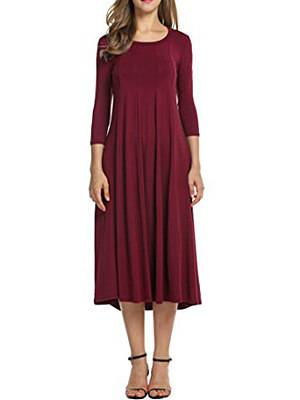 Berrylook Casual Solid Round Neck Long Dress sale, clothes shopping near me, long black dress, sweater dress