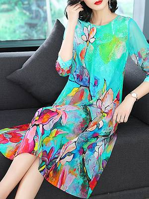 Berrylook Round Neck Printed Maxi Dress online shop, clothes shopping near me, homecoming dresses, casual maxi dresses