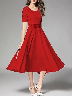 Berrylook Round Neck Decorative Lace Plain Maxi Dress clothes shopping near me, online, long sleeve maxi dress, petite dresses