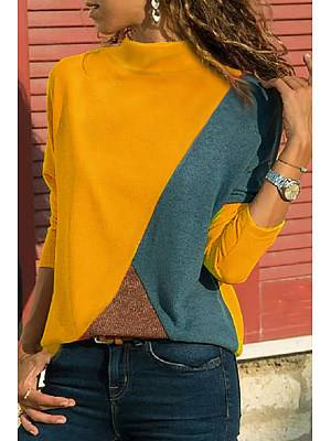 Berrylook Band Collar Patchwork Color Block Patchwork T-Shirts clothes shopping near me, shoppers stop,