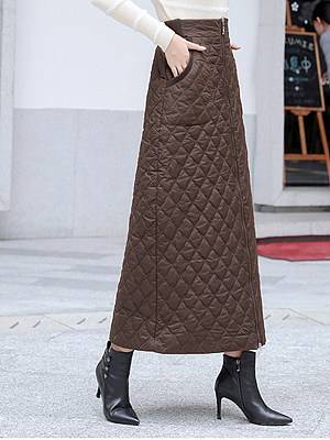 Berrylook Autumn and winter new down cotton one-piece zipper warm long skirt online shopping sites, clothes shopping near me,