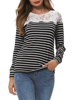 Berrylook Fashion striped stitching lace casual T-shirt sale, clothes shopping near me, stripe Long sleeve T-shirts,