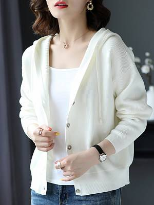 Berrylook Hat Collar Casual Long Sleeve Knit Jacket sweater shoping, online sale, white coat womens, winter clothes for women