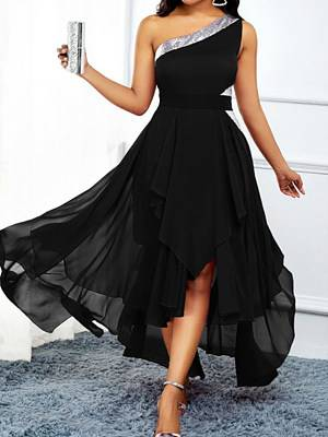 Berrylook One-Shoulder Slashing Dress stores and shops, clothes shopping near me, halter dress, floral maxi dress