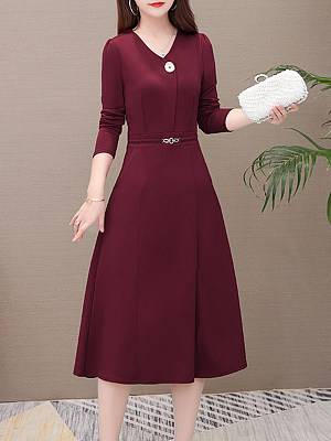 Berrylook Long Sleeve Waisted Solid Color V-Neck Dress clothes shopping near me, fashion store, off the shoulder skater dress, fit and flare wedding dress