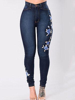 Berrylook Dark Blue Embroidered High Waist Jeans online shop, clothes shopping near me, yoga leggings, leggings for girls