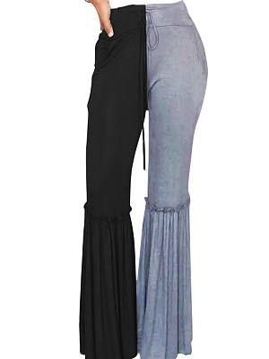 Berrylook Fashionable elastic waist home casual flared pants clothing stores, online stores, Solid Casual Pants,
