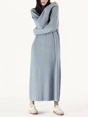 Berrylook Casual Long Sleeve Pure Colour Sweater dress clothes shopping near me, online, sequin dress, black maxi dress