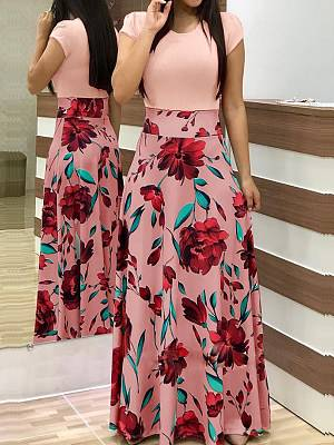 Berrylook Round Neck Patch Pocket Floral Printed Maxi Dress stores and shops, clothes shopping near me, white maxi dress, floral maxi dress