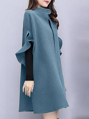 Berrylook Mid-length Short Sleeve Coat clothes shopping near me, shoping, Solid Coats, red jacket womens, leather jacket