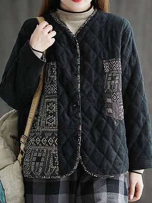 Berrylook Autumn and winter new style retro cotton and linen mixed color quilted thick coat online, clothes shopping near me, Color Coats, womens cape coat, womens hooded jacket