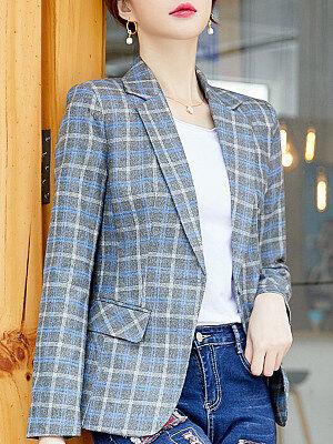 Berrylook Trendy Fold Collar Plaid Blazer clothes shopping near me, online shopping sites, girls blazer, black blazer