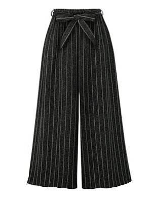 Berrylook Autumn and winter new vertical stripes lace up all-match casual wide-leg pants clothes shopping near me, online shop,