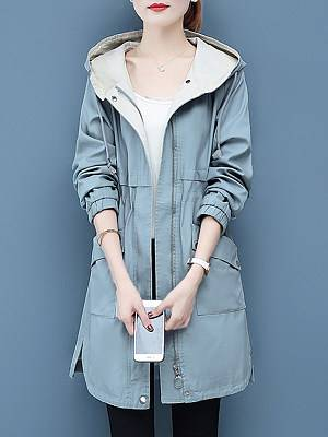 Berrylook Fashion hooded solid color drawstring patch pocket Trench Coats online sale, sale,