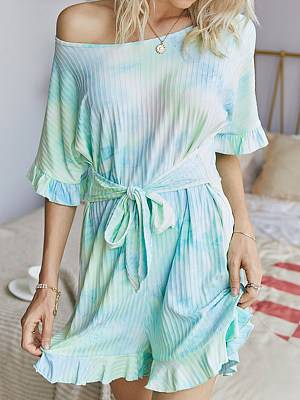 Berrylook Fashionable home tie-dye printed round neck jumpsuit shop, online sale, rompers for women, jumpsuits for women
