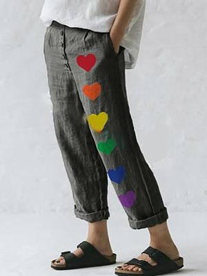 Berrylook Fashion asymmetric printed cotton and linen casual pants clothes shopping near me, online shopping sites,
