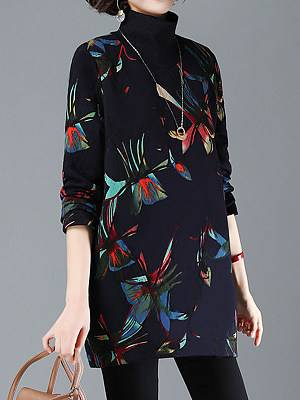 Berrylook Autumn and winter new printing plus velvet thick casual high-neck loose warm sweater clothes shopping near me, shoppers stop, printing Shift Dresses, white linen dress, flowy dresses