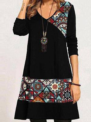 Berrylook Printed Color Block Dress online, clothes shopping near me, tea dress, shift dress pattern
