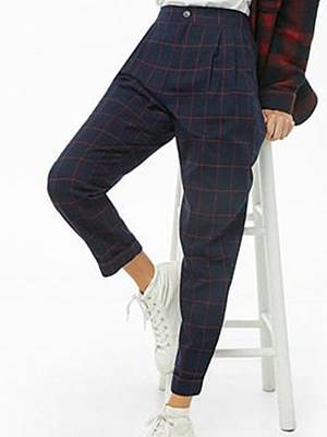 Berrylook Fashion high waist check casual pants online, clothes shopping near me, Tartan Casual Pants,