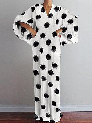Berrylook V-Neck Sleeve Print Dress online sale, clothes shopping near me, white maxi dress, off the shoulder dress