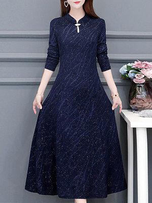 Berrylook Long Sleeve Over The Knee Maxi Dress sale, clothes shopping near me, black long sleeve dress, a line dress