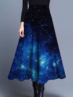 Berrylook Printed A-line skirt online sale, clothes shopping near me, printing Skirts, long black skirt, black leather skirt