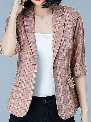 Berrylook Plaid Lapels Collar Mid-sleeve Blazer clothes shopping near me, fashion store, navy blue blazer women, girls blazer