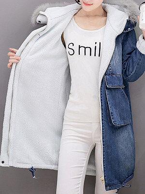 Berrylook Denim Cotton Clothes Mid-Length Plus Velvet Thickening online sale, online, winter jacket, leather jackets for women