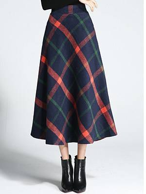 Berrylook Autumn and winter new mid-length retro high waist a-line skirt online shopping sites, clothes shopping near me,